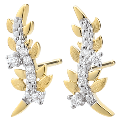 Earrings Enchanted Garden - Foliage Royal - Yellow gold and diamonds - 9 carat