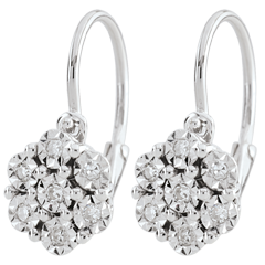 Earrings Freshness - Flower Snowflake - 14 diamonds and white gold