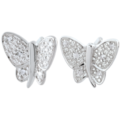 Earrings Imaginary Walk - Butterfly Musician - White Gold