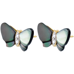 Earrings Imaginary Walk - Mother-of-pearl Butterflies - mother-of-pearl and diamonds
