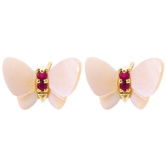 Earrings Imaginary Walk - Yellow gold mother-of-pearl Butterflies - mother-of-pearl and ruby