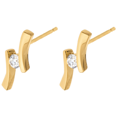 Earrings Precious Nest - Apostrophe diamond - yellow gold - 0.14 carats - 18 carats