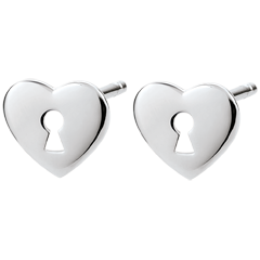 Earrings Precious Secret - Heart - White Gold