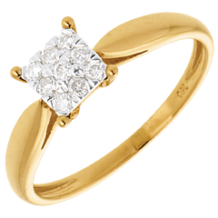 Elegance ring yellow gold square paved - 9diamonds