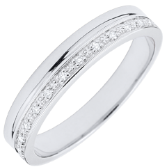 Elegance Wedding ring - White Gold and Diamonds - 9 carats