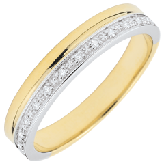 Elegance Wedding ring - Yellow Gold and Diamonds - 9 carats
