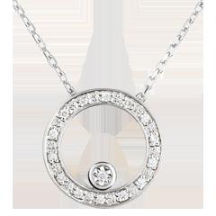 Elegant White Gold Circular Necklace - 18 carats