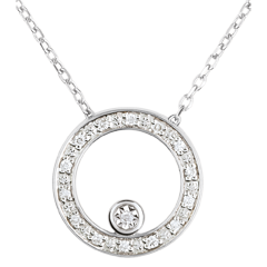 Elegant White Gold Circular Necklace