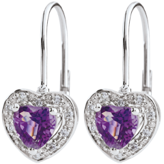 Enchanting Amethyst Heart Earrings - 18 carats