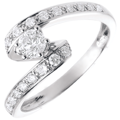 Engagement Ring Solitaire Destiny - Nefertiti - white gold - 0.27 carat diamond