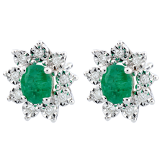 Eternal Edelweiss Earrings - Daisy Illusion - Emeralds and Diamonds - 09 carat White Gold