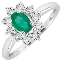 Eternal Edelweiss Ring - Daisy Illusion - Emeralds and Diamonds - 09 carat White Gold