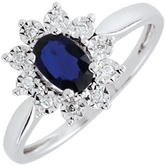 Eternal Edelweiss Ring - Daisy Illusion - Sapphire and Diamonds - 09 carat White Gold