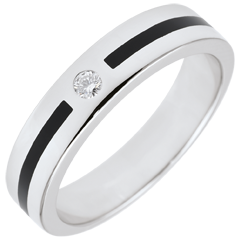 Fede Chiaroscuro - Linea e Diamante - modello piccolo - Oro bianco - 18 carati - Lacca nera - Diamante