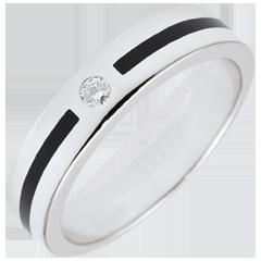 Fede Chiaroscuro - Linea e Diamante - modello piccolo - Oro bianco - 9 carati - Lacca nera - Diamante