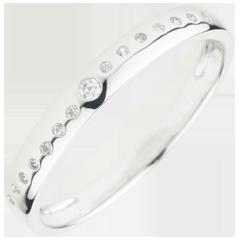 Fede con diamanti Nuziale - Oro bianco - 18 carati - 15 Diamanti