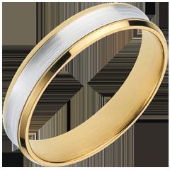 Fede Dandy - Oro giallo e Oro bianco - 18 carati - 4mm