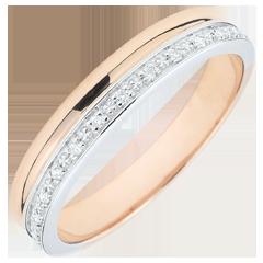 Fede Eleganza oro bianco oro rosa - 18 carati