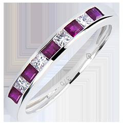 Fede nuziale Colorata Origine - oro bianco 9 carati, zaffiri e diamanti