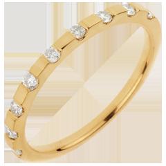 Fede nuziale - Doriana - Oro giallo - 18 carati - 9 Diamanti - 0.20 carati