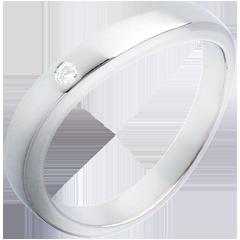 Fede nuziale Ellisse - Oro bianco - 18 carati - 1 Diamante