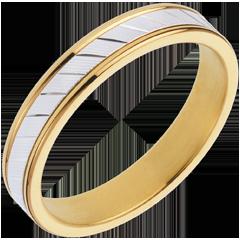 Fede nuziale Esther II- Oro bianco e Oro giallo - 18 carati