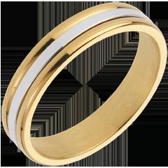 Fede nuziale Esther I - Oro bianco e Oro giallo - 18 carati