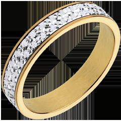 Fede nuziale - Illusione - Oro bianco e Oro giallo - 18 carati