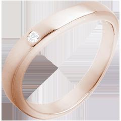 Fede nuziale - Onda preziosa - Oro rosa - 18 carati - 1 Diamante