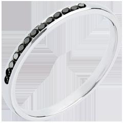 Fede nuziale - Oro bianco semi pavé - 18 carati - Diamanti neri