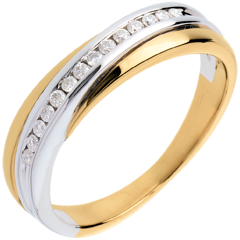 Fede nuziale - Oro giallo e Oro bianco - 18 carati - 14 Diamanti - incastonatura a binario - 0.13 carati