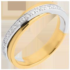 Fede nuziale Oro giallo e Oro bianco semi pavé - 18 carati - 17 Diamanti - 0.18 carati