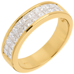 Fede nuziale - Oro giallo semi pavé - 18 carati - 2 file Diamanti - incastonatura a binario - 1 carato