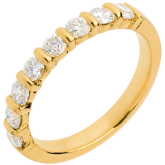 Fede nuziale - Oro giallo semi pavé - 18 carati - 8 Diamanti - incastonatura a barretta - 0.65 carati