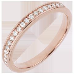 Fede nuziale - Oro rosa - 18 carati - 19 Diamanti - 0.15 carati