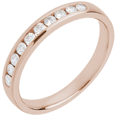 Fede nuziale - Oro rosa semi pavé - 18 carati - 10 Diamanti - incastonatura a binario - 0.25 carati