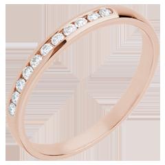 Fede nuziale - Oro rosa semi pavé - 18 carati- 11 Diamanti - incastonatura a binario - 0.15 carati
