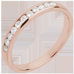 Fede nuziale - Oro rosa semi pavé - 18 carati - 11 Diamanti - incastonatura a binario
