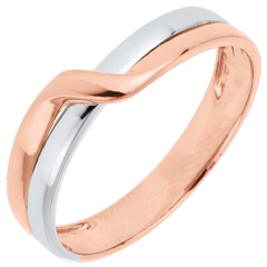 Fede nuziale Passione Eden - Oro rosa e Oro bianco - 18 carati