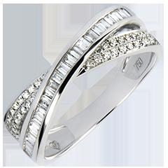 Fede nuziale Saturno - Duo diamanti - oro bianco 18 carati e diamanti