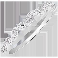 Fede nuziale Sguardo Levante - variazione - oro bianco 9 carati e diamanti