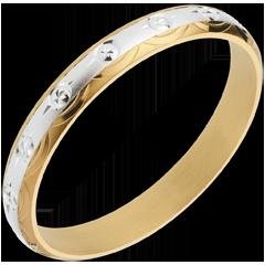 Fede nuziale - Simboli Solari - Oro bianco e Oro giallo - 18 carati