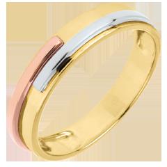Fede nuziale Titano - Oro bianco, Oro rosa e Oro bianco - 9 carati