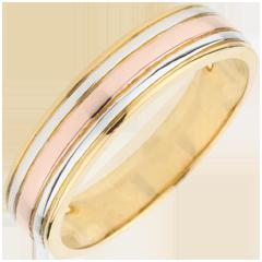 Fede nuziale Tricolore Ulisse - Oro bianco e Oro giallo - 18 carati