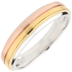 Fede nuziale Trilogy Eureka - Oro bianco, Oro giallo e Oro rosa - 9 carati
