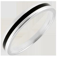 Fede nuziale Uomo Chiaroscuro - Una linea - Oro bianco e lacca nera - 9 carati