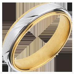 Fede nuziale - Vichingo - Oro bianco e Oro giallo - 18 carati