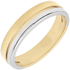 Fede Olympia - modello piccolo - Oro bianco e Oro giallo - 18 carati