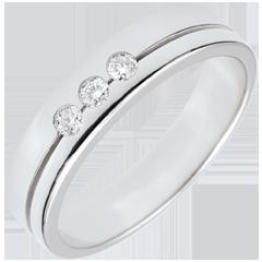 Fede Olympia Trilogy - modello medio - Oro bianco - 9 carati - 3 Diamanti