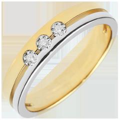 Fede Olympia Trilogy - modello piccolo - Oro bianco e Oro giallo - 9 carati - 3 Diamanti